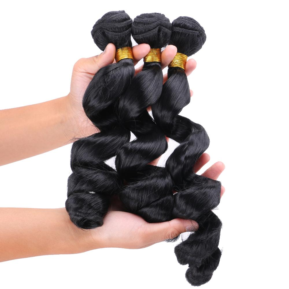 100g/pcs loose wave bundle Black color machine double weft synthetic hair weave extension for women(China)