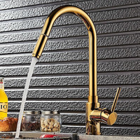Kitchen Faucets Single Handle Gold Pull Out Kitchen Faucet Single Hole Handle Swivel 360 Degree Sink Mixer Tap Mixer Tap|Kitchen Faucets|   -