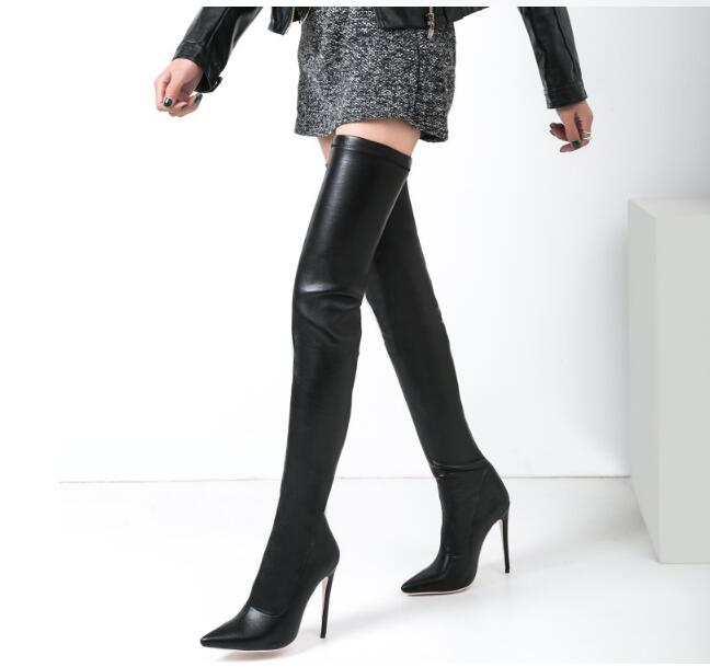 Chaussures femme boots leather stockings ladies overknee boots sexy crotch female winter boots high heel long stretch booties Chaussures femme boots leather stockings ladies overknee boots sexy crotch female winter boots high heel long stretch booties