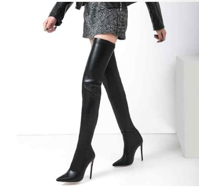 a8bef6329 Chaussures femme boots leather stockings ladies overknee boots sexy crotch  female winter boots high heel long