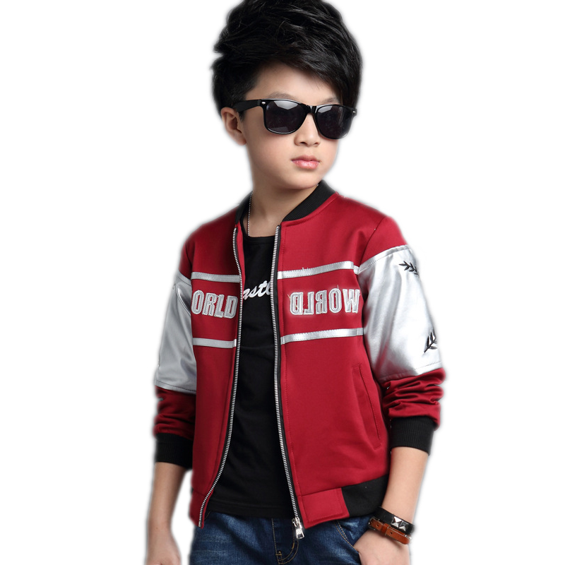 ФОТО children clothing 2017 new fashion spring boy leather jackets letter printed kids jackets long sleeve patchwork boys outerwear