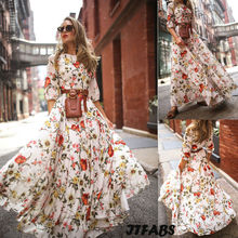 Hot New Elegant Womens Fashion Half Sleeve Printed Floral Vintage Boho Long Dress Evening Party Formal Maxi Vestidos