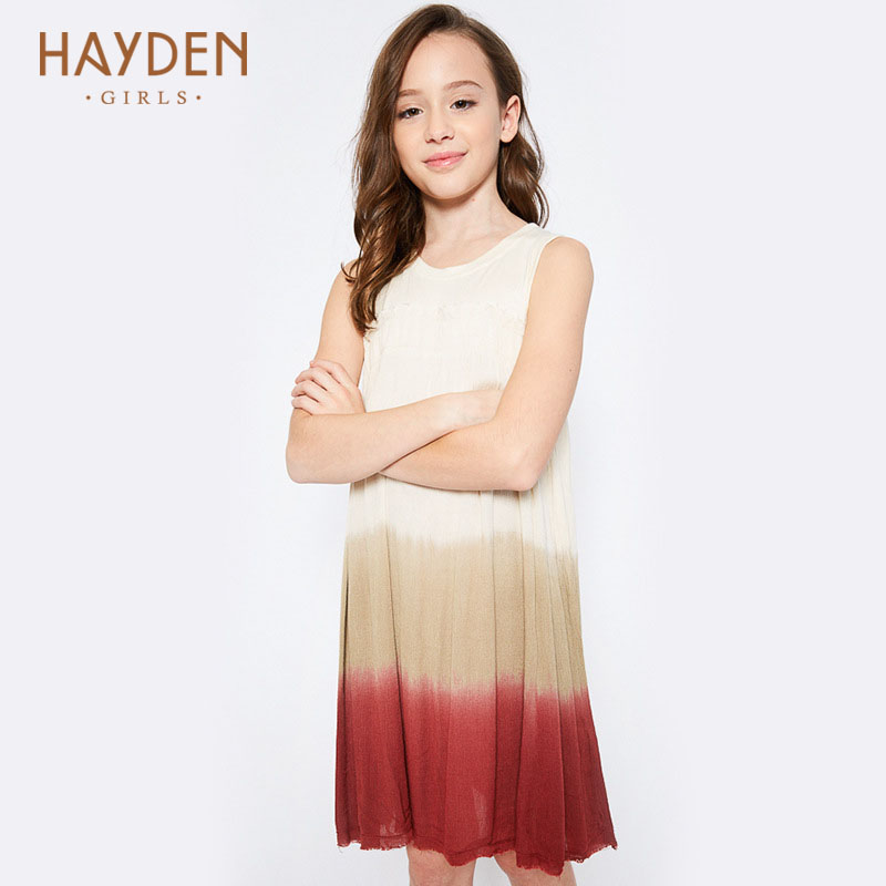 HAYDEN teenage girls Dip Dyed dresses 10 years summer spring costume children costumes for girl clothes 13Y fashionable clothing hayden girls boho ethnic dress designs teenage girls national embroidered dresses flare sleeve loose fit dress for 7 to 14 years