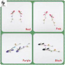 BED KUNGFU Breast Clips Copper Bells Chain For Couples Medical Alloy Nipple Clamps Fetish Flirting Teasing Fashion Sexy Toys