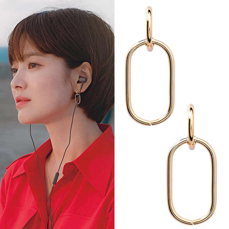 Minimalsit Korean Popular S925 Silver Needle Gold Silver Color Geometric Loop Chain Metal Earrings For Women Chic Party Earring