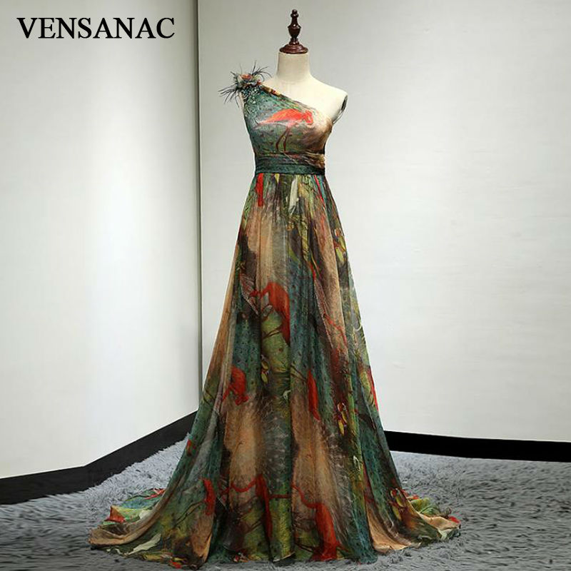 VENSANAC New A Line 2017 Floral One spalla abiti da sera lunghi senza maniche eleganti piume Fascino Sweep Train Party Prom Gowns