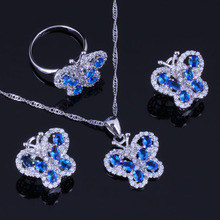 Gleaming Butterfly Blue Cubic Zirconia White CZ 925 Sterling Silver Jewelry Sets For Women Earrings Pendant Chain Ring V0997 trendy water drop blue cubic zirconia white cz 925 sterling silver jewelry sets for women earrings pendant necklace bracelet