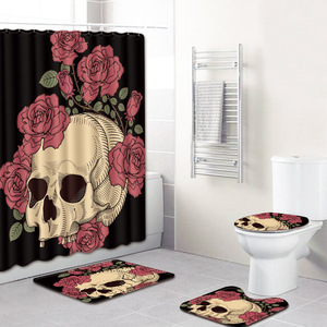 Сахарный череп, занавеска для ванной комнаты, 4 шт., коврик для ванной, набор, Противоскользящий коврик для ванной комнаты, 3D комплект коврик ...