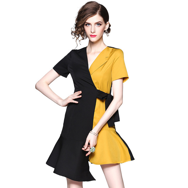 e8d9cb7843c US $13.98 15% OFF|Fahion black yellow color Asymmetry patchwork summer  dress 2019 elegant sexy V Neck irregular office lady party women dress-in  ...