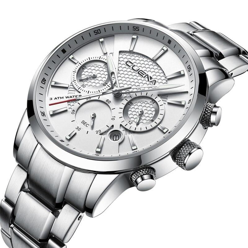 CUENA Men's Watches Chronograph Luminous Hands Auto Date Stainless Steel 30m Waterproof Quartz Watches Men Fashion Watch 2018 все цены