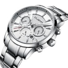 CUENA Men's Watches Chronograph Luminous Hands Auto Date Stainless Steel 30m Waterproof Quartz Watches Men Fashion Watch 2018 цена в Москве и Питере