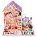2015 Новый Diy Деревянный Кукольный домик Миниатюре 3D Модель Головоломка Комплекты Кукольные Домики Миниатюрные Игрушки Дом День Рождения Рождественский Подарок