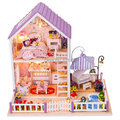 2015 New Diy Wooden Doll house Miniatura 3D Puzzle Model Kits Dollhouses Miniature Toys House Birthday Christmas Gift