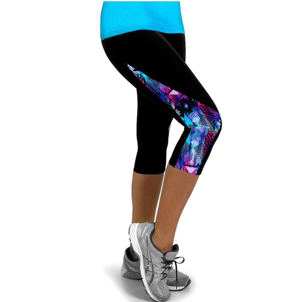 Elastic Fitness Tights Women Three Quarter Length Pants Gym Sports Yoga Leggings Running ...