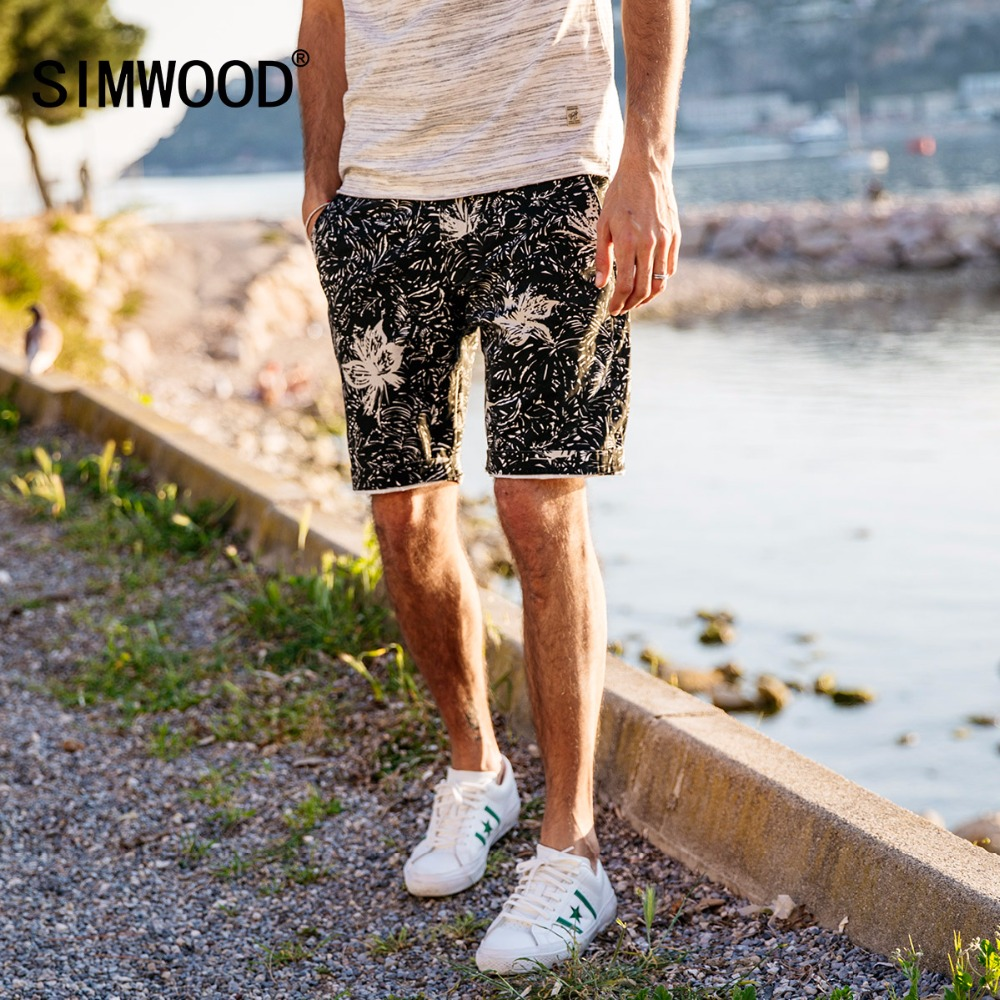 SIMWOOD 2019 Summer New   Shorts   Men Flowers Print Slim Fit Vintage Beach Casual   Shorts   Plus Size Brand Clothing 180283