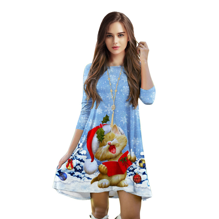 Online Shop Simple Style Blue Christmas Dress Half Length Sleeves ...