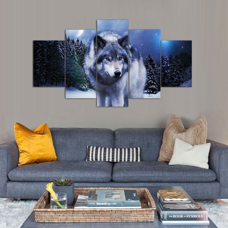 Printed Wolf In Winter Group Painting