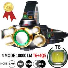 USB XML T6 5 Led Tactical Headlamp Rechargeable 18650 Battery 10000 Lumen Zoomable Waterproof Headlight Torch Head Lantern
