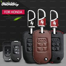 цена на Leather Remote Car Key Cover Case For Accord Honda CRV Civic Jazz Crider HRV 2&3 Buttons Car Styling Key Shell Fob Protector