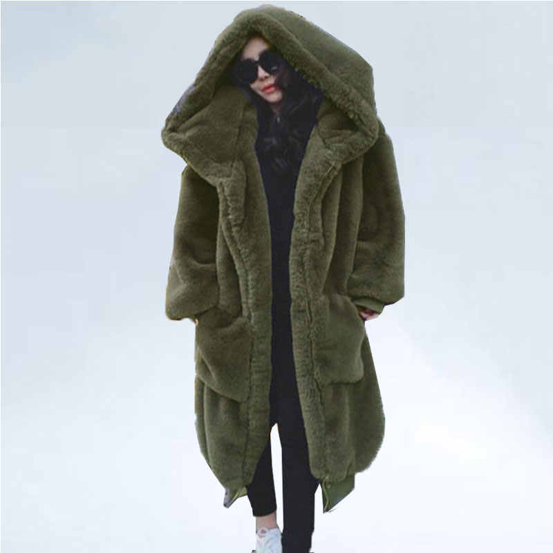 Oversized Winter Faux Fur Jas Vrouwen Parka Lange Warme Faux Fur Jas Jassen Hoodies Losse Winter Jas Uitloper Casaco Feminino
