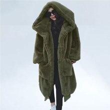 المتضخم الشتاء فو الفراء معطف المرأة سترة طويلة الدافئة فو الفراء معاطف السترة هوديس فضفاضة معطف الشتاء أبلى casaco feminino