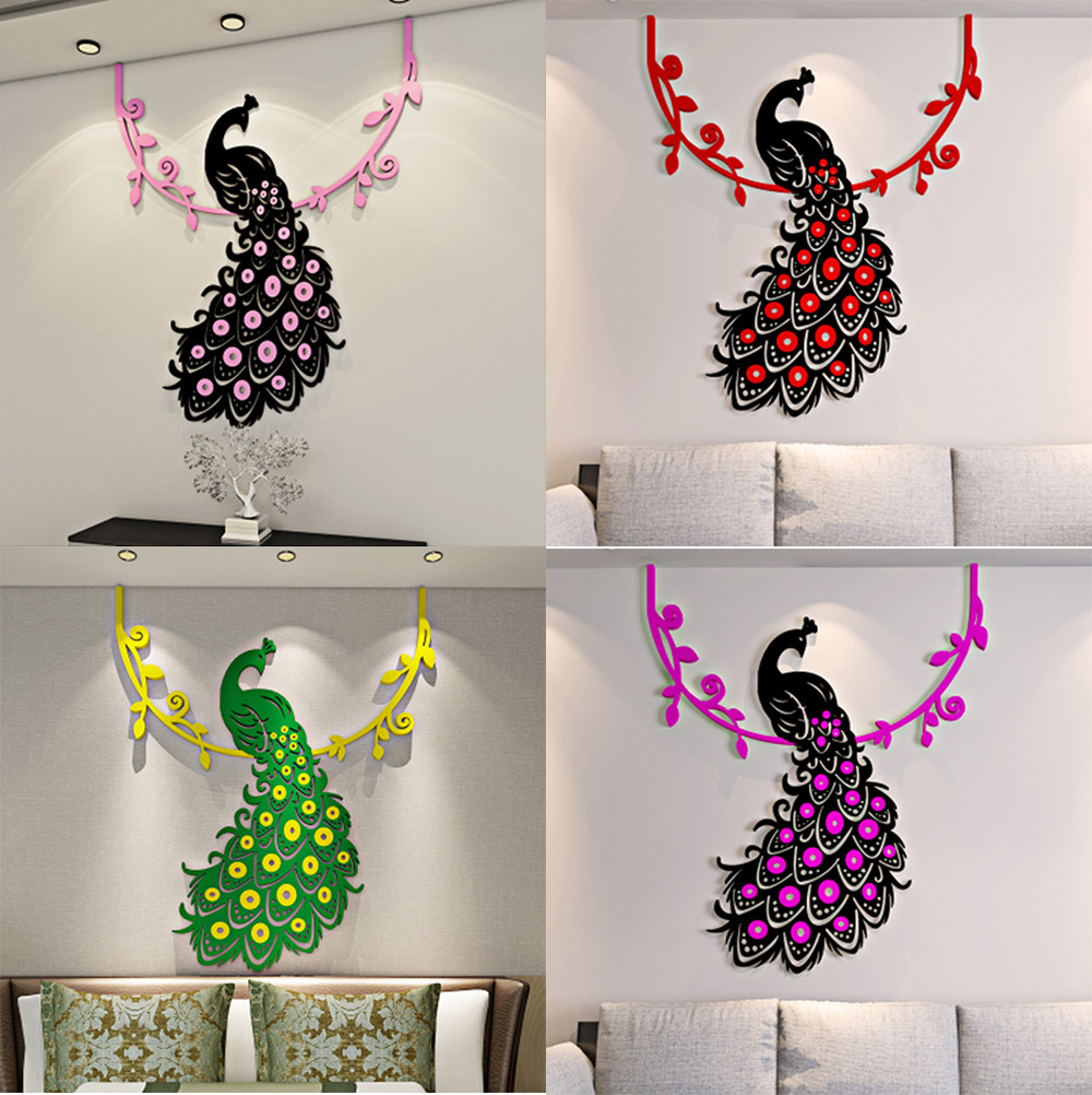 online get cheap peacock wall stickers aliexpress com alibaba group 2017 hot peacock diy 3d acrylic crystal wall stickers living room bedroom tv background home muurstickers