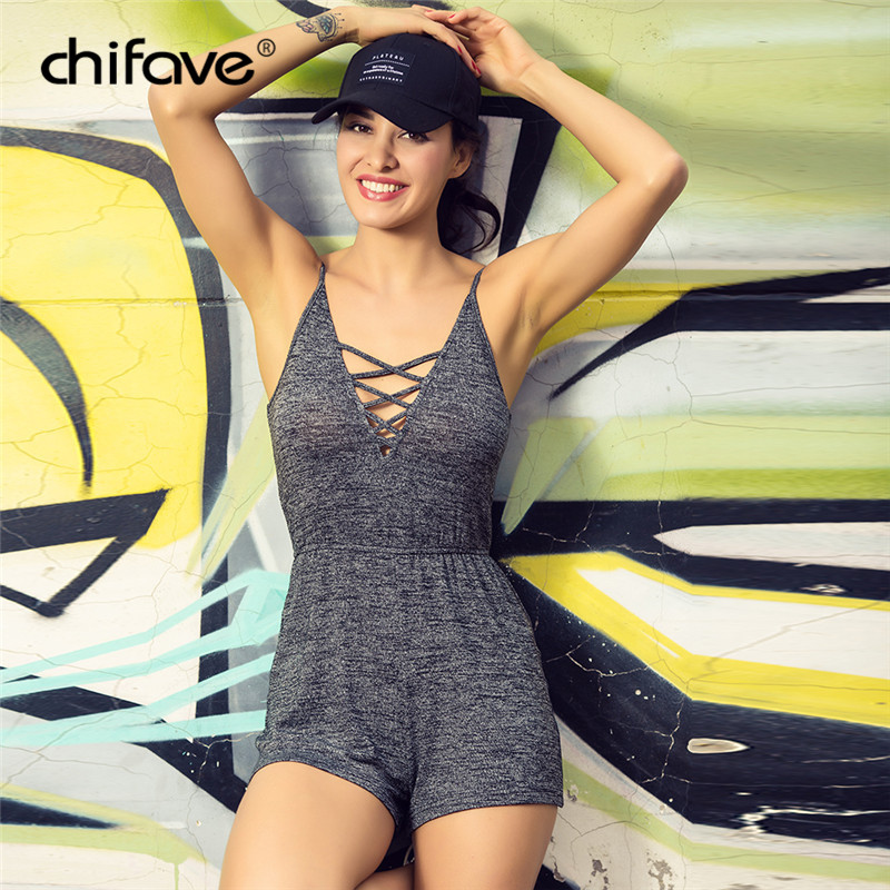 Casual Womans Summer Solid Sling Playsuits Sexy Deep V-Neck Spaghetti Strap Rompers Beach Cotton Party Bodysuit Plus Size