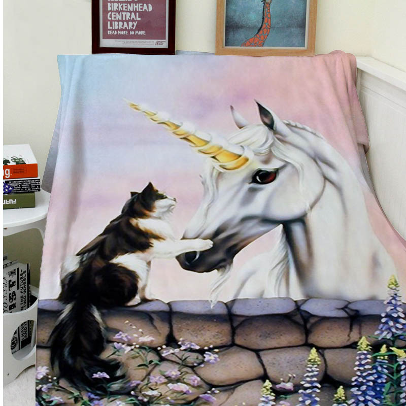 Blankets Comfort Warmth Soft Cozy Air conditioning Easy Care Machine Wash Cat Unicorn Wizard Horse
