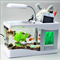 USB Desktop Aquarium Fish Tank Clock Storage Creative Household Supplies Gifts