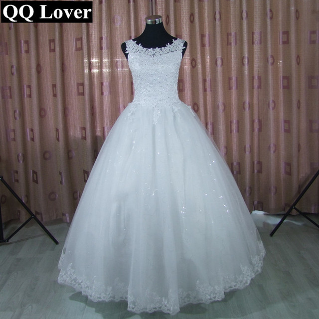 QQ Lover 2018 Lace Ball Gown Wedding Dress Free Shipping Cheap ...