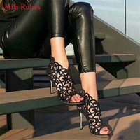 Пикантные Кристалл клетке Женские летние ботинки с вырезами сандалии гладиаторы; ботинки Высокие каблуки ботильоны; женская обувь Bootie botas