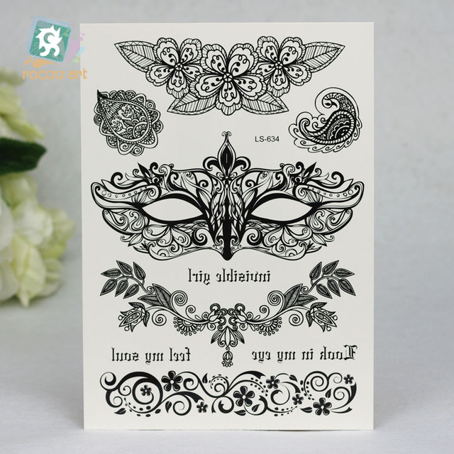 LS634 Self Adhesive Flower For Woman Girl Garden Tattoo Black Lace Costume Party Halloween
