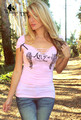 WomensDate 2016 New Summer Women Sexy Tops T Shirt Deep V Neck Short Sleeve Slim Tee Shirt Ptint Angel Wings Female T-Shirt