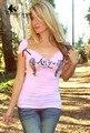 WomensDate 2016 Nuevas Mujeres Del Verano Sexy Tops Camiseta Profunda V cuello Delgado de Manga Corta T-shirt Ptint Alas de Ángel Femenino T-Shirt