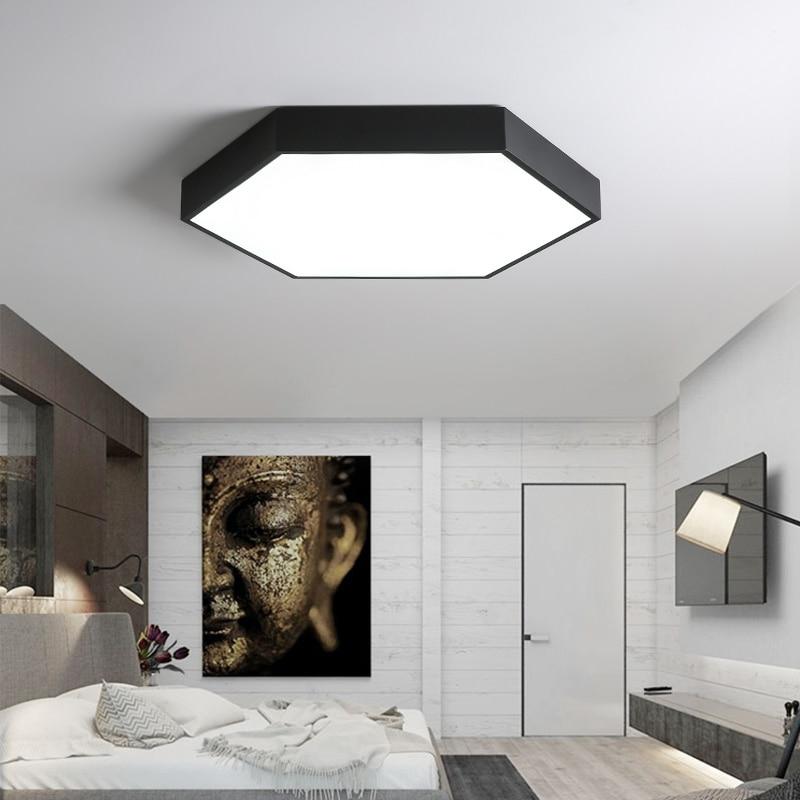 Us 28 12 25 Off Dx Modern Lampu Led Plafon Minimalis Untuk Ruang Tamu Ultra Tipis Hexagon Perlengkapan Remote Control Dimmable Kilau In