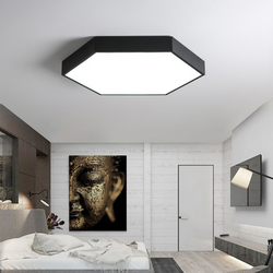 DX nowoczesne lampy sufitowe Led minimalistyczna oprawa do salonu ultra-cienka lampa z łbem sześciokątnym lampa zdalnie sterowana z możliwością przyciemniania