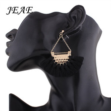 JEAE 2017 Women Fashion Bohemian Vintage Earrings fan-shaped Tassel Dangle Earrings Jewelry Wedding Accessories 10 Colors