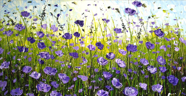 Violet Fleurs Arts Peint À La Main Palette Couteau Peinture À L