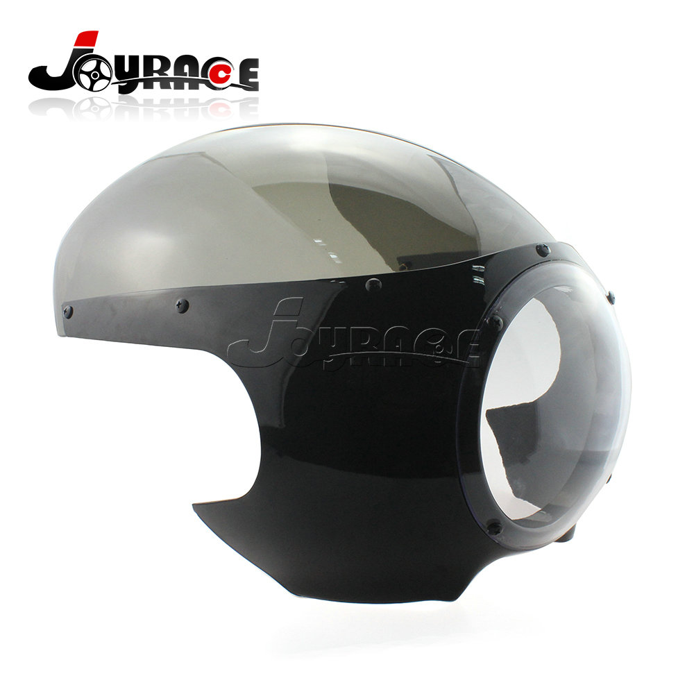 Motorcycle 5-3/4 Headlight Fairing Screen Black Clear Retro Cafe Racer Drag Accessories for Harley Davidson Sportster 883 1200 5 3 4 billet aluminum front motorcycle headlight grille cover for harley davidson sportster xl 1200 883 04 14 head light cover