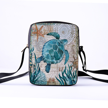 Custom pattern men's and women's diagonal shoulder bag printing cartoon turtle children's Messenger bag casual cool pattern