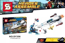 SY356 592Pcs Building Blocks Super Heroes Avengers MiniFigures IGOR Hawkman Superman Plane Fighter Mini figures Toys