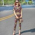 2017 Взлетно-Посадочной Полосы Дизайнер Новая Весна Лето Из Двух Частей Набор женщин Высокое Качество Геометрические Печати Блузка + Пят брюки Случайный Набор