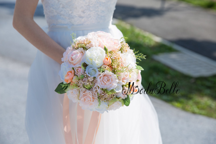 Modabelle Champagne Rose Bridal Bouquet Artificial White Flower