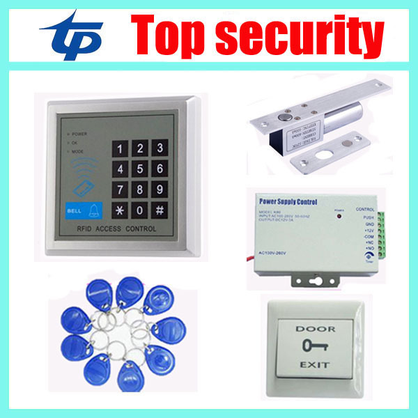 125KHZ RFID card access control kit ID card access control system,power supply,electric lock,exit button,10pcs RFID key access control systems proximity card waterproof standalone access control power supply magnetic lock exit button 10pcs rfid key