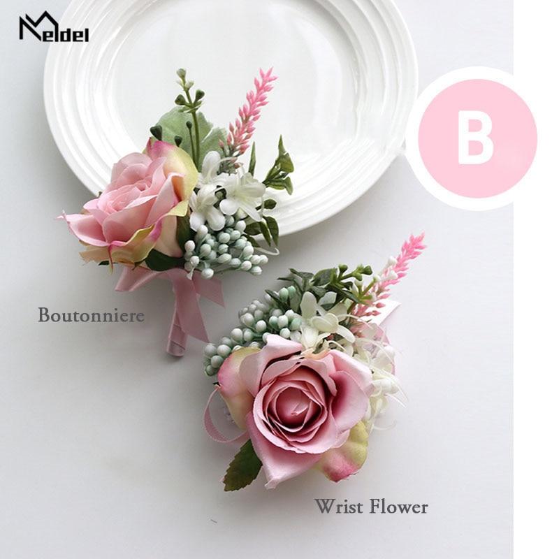 Meldel Corsage Wedding Flower Groom Boutonniere Bridal Wrist Corsage Bracelet Pink Rose Flower Wedding Planner Marriage Supplies