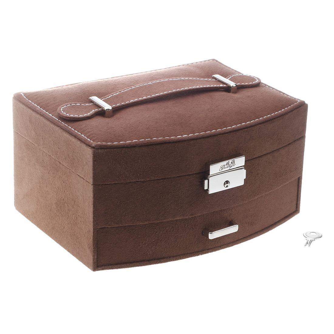 תכשיטי קופסא תכשיטי אחסון מקרה לאחסון עגילים, אוזן הרבעה, שרשראות, צמידים וטבעות (שתי קומות, קפה)