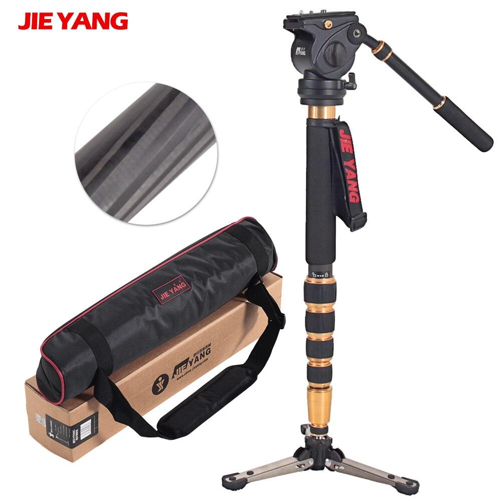 JIEYANG JY0506C En Fiber De Carbone Monopode Professionnel Lumière-peser Pour Vidéo et Caméra Vidéo Trépied 5 kg Charge