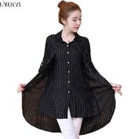LXUNYI Womans Plus Size Blouses And Shirts Spring 2018 Korean Fake Two Piece Women Long Blouse