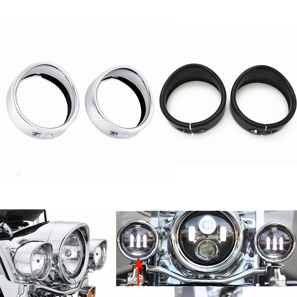 """7/'/' Headlight Trim Fit For Harley 4.5/"""" Auxiliary Passing Light Visor Style Ring"""