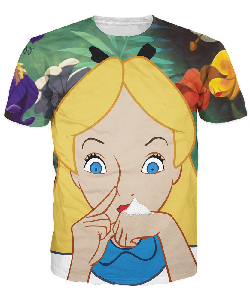 Alice in Cocaland T-Shirt sick sexy naughty vibrant tee Casual tops camisetas fashion clothing t shirt for women men